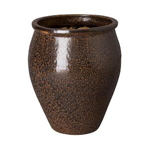 30 in. Round Walnut Lip Ceramic Planter