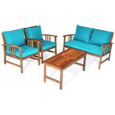 4-Piece Turquoise Wooden Cushioned Garden Patio Furniture Table Sofa Chair Set Cover
