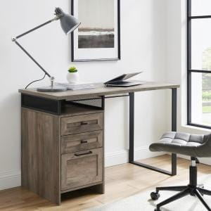 Welwick Designs 48 In Rectangular Reclaimed Barnwood Wood And Metal 3 Drawer Computer Desk With Cubby Hd8679 The Home Depot