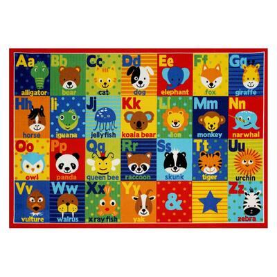 Alphabet Friends Multi-Colored 8 ft. x 10 ft. ABC's Area Rug