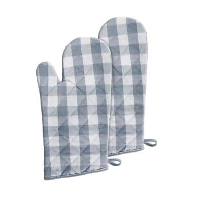 Buffalo Check Polyester/Cotton Grey Oven Mitts (2-Pack)