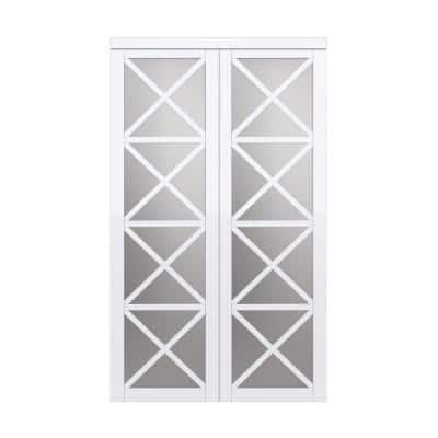 48 in. x 80.5 in. Urban Lace Primed Pure White MDF Sliding Door