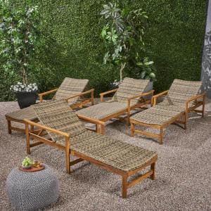 Hampton Natural 4-Piece Wood Outdoor Chaise Lounge