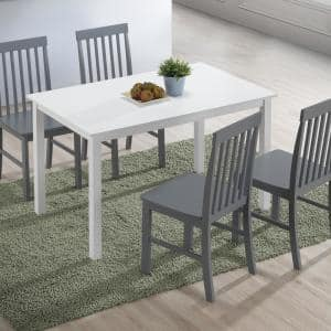 5-Piece Modern Farmhouse Dining Rooom Set - White/Grey