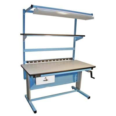 72 in. Light Blue/White Rectangular 1 -Drawer Standing Desk with Adjustable Height