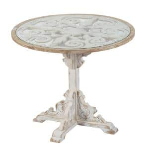 36 in. Weathered White Medium Round Wood Coffee Table with Pedestal Base