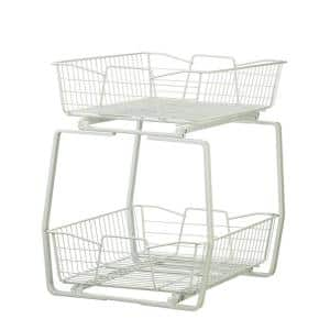 14 in. W 2-Tier Ventilated Wire Sliding Cabinet Organizer in White
