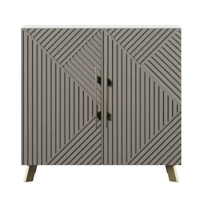 White and Concrete Accent Cabinet