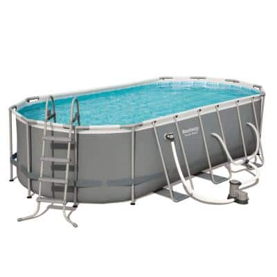 Power 18 ft. x 9 ft. Oval 48 in. D Hard Side Above Ground Pool Set with Pump and Aqua Vacuum