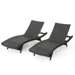 Salem Gray Wicker Outdoor Chaise Lounges with Cover (Set of 2)