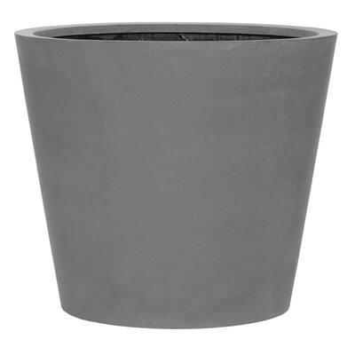 Bucket Large 24 in. Tall Grey Fiberstone Indoor Outdoor Modern Round Planter