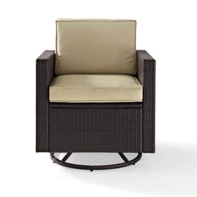 Palm Harbor Swivel Wicker Outdoor Lounge Chair With Sand Cushions