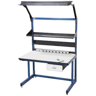 Bench in a Box 60 in. Rectangular Blue/Black 1 Drawer Computer Desks with Locking Storage