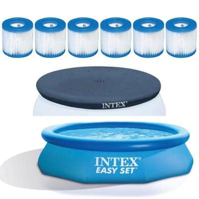 10 ft. Round 30 in. D Inflatable Pool with Vinyl Cover and Filter Replacement (6-Pack)