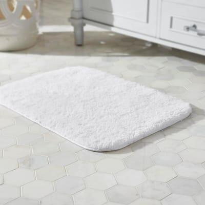 Eloquence White 17 in. x 24 in. Nylon Machine Washable Bath Mat
