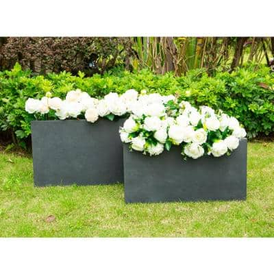 31 and 23 in. L Charcoal Lightweight Concrete Modern Long Low Granite Outdoor Planter (Set of 2)