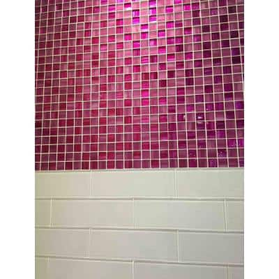 Pink 11.3 in. x 11.3 in. Polished and Matte Finished Glass Mosaic Tile (4.43 sq. ft./Case)