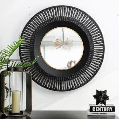 Small Round Black Modern Mirror (2.36 in. H x 35.04 in. W)