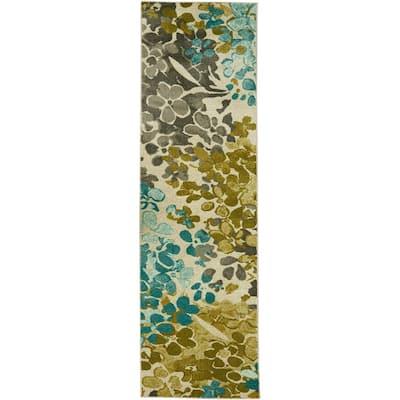 Radiance Aqua 2 ft. x 8 ft. Machine Washable Floral Runner Rug