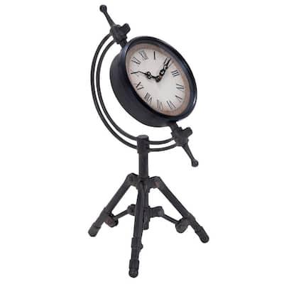 Black Metal Industrial Analog Tabletop Clock