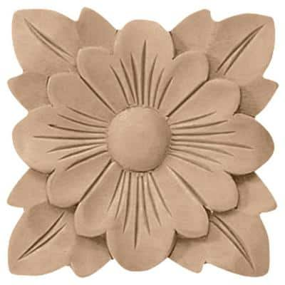 1/4 in. x 2-3/4 in. x 2-3/4 in. Unfinished Wood Maple Springtime Rosette