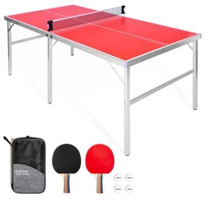 Mid Size 6 ft. x 3 ft. Indoor Outdoor Table Tennis Ping Pong Game Set