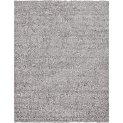 Solid Shag Cloud Gray 9 ft. x 12 ft. Area Rug