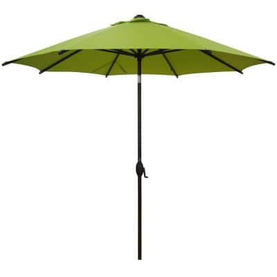 9 ft. Market Outdoor Patio Umbrella Aluminum Pole with Auto Tilt and Crank, 8 Ribs in Lime Green