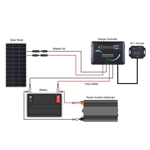 Renogy 100 Watt 12 Volt Monocrystalline, 12 Volt Rv Solar Panel Wiring Diagram