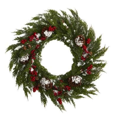 28 in. Frosted Cypress with Berries and Pine Cones Artificial Wreath