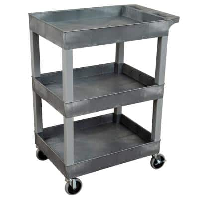 SEC 3-Shelf Plastic Utility Cart in Gray