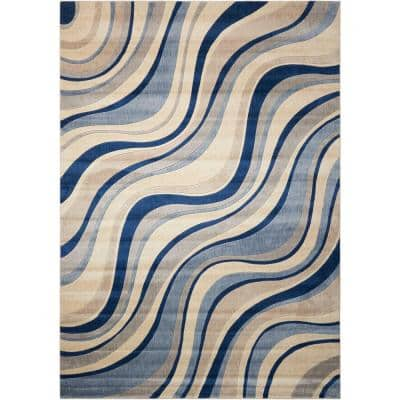 Somerset Ivory/Blue 5 ft. x 7 ft. Floral Contemporary Area Rug