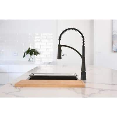 Brenner Commercial Style Single-Handle Pull-Down Sprayer Kitchen Faucet in Oil Rubbed Bronze Finish