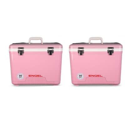 30 qt. 48-Can Lightweight Insulated Cooler Drybox, Pink (2-Pack)