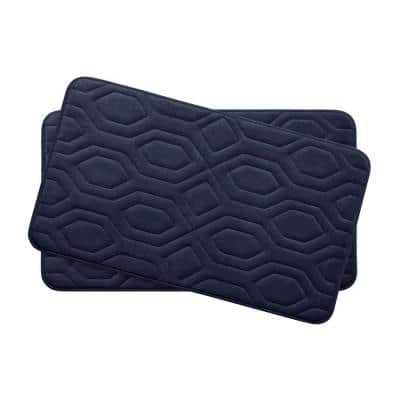 Turtle Shell Indigo 17 in. x 24 in. Memory Foam 2-Piece Bath Mat Set