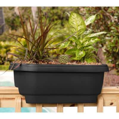 24 x 9 Black Deck Rail Planter Plastic Deck Rail Planter