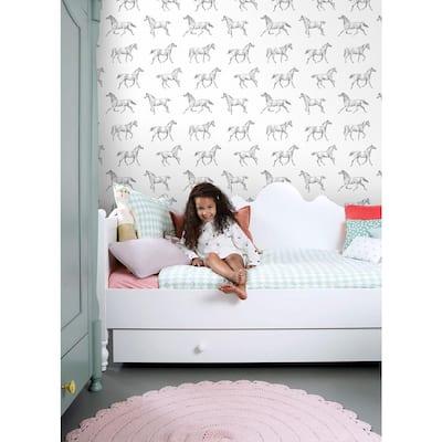 Burnett Off-White Horses Paper Strippable Wallpaper (Covers 56.4 sq. ft.)
