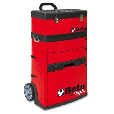 21 in. Mobile Tool Utility Cart with 3 Slide-Out Drawers and Removable Top Box with Carry Handle in Red