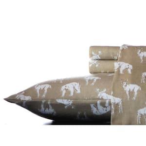 Buckhead Ridge 4-Piece Brown Graphic Flannel King Sheet Set