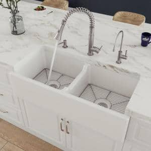 Smooth Farmhouse Apron Fireclay 39 in. Double Basin Kitchen Sink in White
