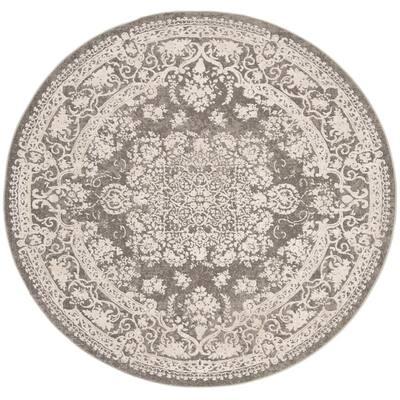 Reflection Dark Gray/Cream 7 ft. x 7 ft. Round Border Floral Area Rug