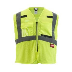 2X-Large/3X-Large Yellow Class 2 Polyester Mesh High Visibility Safety Vest with 9-Pockets