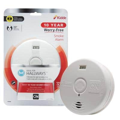 10 Year Worry-Free Sealed Battery Smoke Detector with Photoelectric Sensor and Safety Light