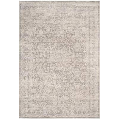 Princeton Gray/Beige 9 ft. x 12 ft. Floral Distressed Area Rug