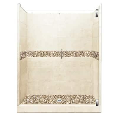 Roma Grand Hinged 36 in. x 54 in. x 80 in. Center Drain Alcove Shower Kit in Desert Sand and Satin Nickel Hardware