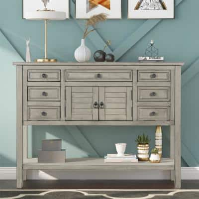 45.3 in. L Cream Color Rectangle Solid Wood Modern Console Table with 7 Drawers, 1 Cabinet and 1 Shelf