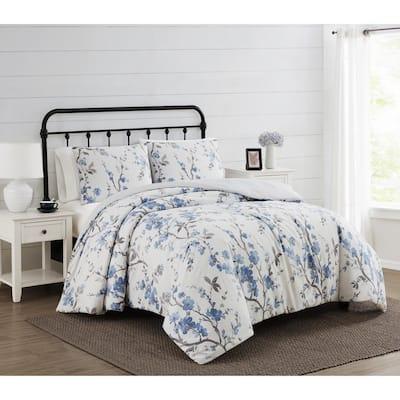 Kasumi 3-Piece Blue Floral Polyester King Duvet Cover Set