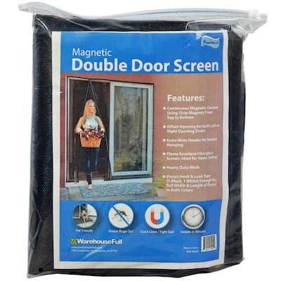 72 in. x 80 in. Black Fiberglass Magnetic Offset Opening Screen Door