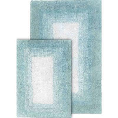 Whitney Ombre Reversible Porcelain Blue 21 in. x 34 in. & 17 in. x 24 in. 2-Piece Bath Rug Set