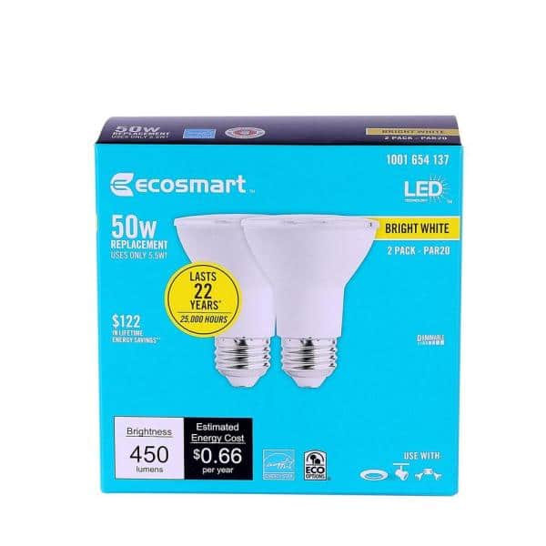 Ecosmart 50 Watt Equivalent Par20 Dimmable Led Light Bulb Bright White 2 Pack 5bhpr500stw1d18 The Home Depot